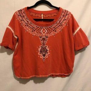 Free People Knit Tribal Print Boho Crop Top